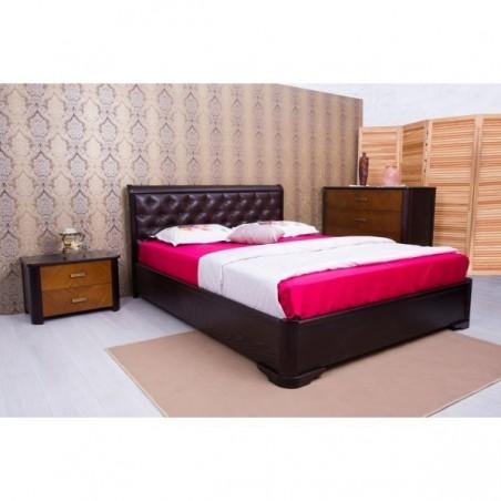Деревянная кровать «Милена с подъемным механизмом мягкая спинка ромбы»