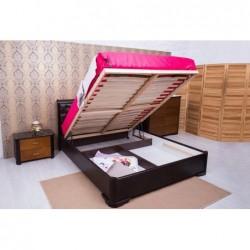 Деревянная кровать Милена мягкая спинка квадраты с подъемным механизмом