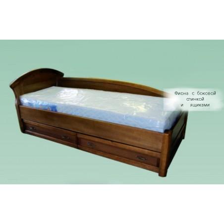 Детская деревянная кровать с ящиками и боковой спинкой  «Фиона»
